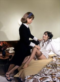 Stephane Audran and Marie Laforêt in 'Marie Chantal contre Dr. Kha', 1965