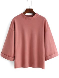 Shop Pink Stand Collar Loose Casual T-Shirt online. SheIn offers Pink Stand Collar Loose Casual T-Shirt & more to fit your fashionable needs.