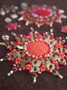 'Burst' Bead Embroidery closeup by A Little Bit of Just Because on Flickr