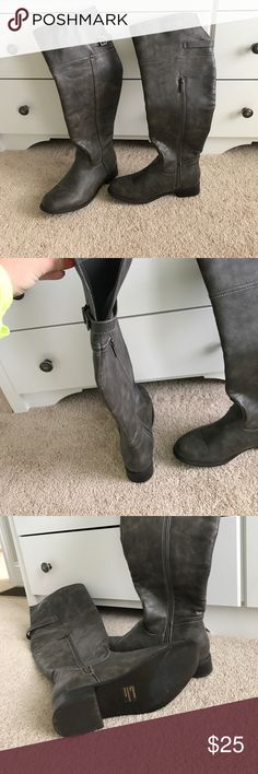 Tall riding boots Grey/brown tall riding boots. Worn once Shoes Over the Knee Boots