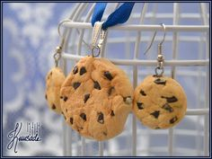 Chocolate chip cookies. Handmade from polymer clay