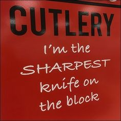 Sharpest Knife On The Block Cutlery Come-On – Fixtures Close Up Retail Fixtures, Store Fixtures, Frames On Wall, Visual Merchandising, Cutlery, Close Up, Knives, Cookware, Neon Signs