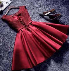 A-line Scoop Short Mini Satin Burgundy Short Prom Dress Homecoming Dresses SKY759 on Luulla