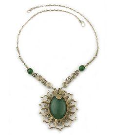 "Wire Wrap Necklace ""Girasol.""  Beautiful sunflower ""girasol"" wrapping of a green aventurine stone."
