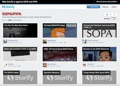 Getting very meta on Storify. Blackout banner + featured Storify stories about SOPA and PIPA