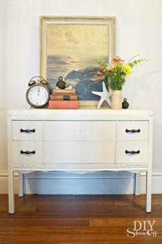 diyshowoff.com - painted dresser tutorial, Maison Blanche furniture paint lime wax @DIY Show Off