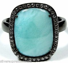 AAA Genuine Dominican Larimar 925 Sterling Silver Black Rhodium Ring size 8