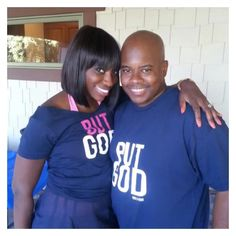 We absolutely love this photo of @seekwisdompcw & her hubby in hers & his #ButGod Tees . Yes we've got tees for the guys too  venandrose.com #vrcrew