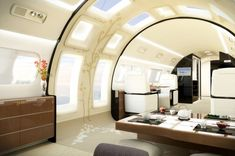 Sometimes you just need a private jet with heated marble floors, a king-size bed, and a dining room. Luxury Jets, Luxury Private Jets, Private Plane, Luxury Yachts, Private Yacht, Architectural Digest, Interior Concept, Interior Design, Executive Jet