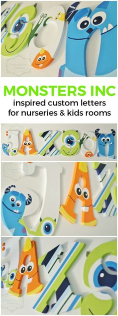 Monsters's Inc Inspired Wooden Nursery Letters | Unique and Chic Creations custom kids room letters