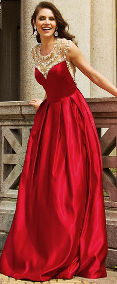Wedding Dresses Ball Gown, Charming Satin Jewel Neckline A-line Evening Dresses With Beadings & Rhinestones DressilyMe Red Formal Gown, Girls Formal Dresses, Formal Dresses For Weddings, Sexy Wedding Dresses, Cheap Wedding Dress, Designer Wedding Dresses, Formal Wear, Red Evening Gowns, A Line Evening Dress