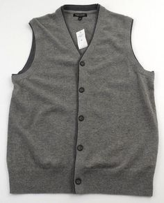 453a4617 Banana Republic High Low Grays Sweater Vest Mens Size Medium M Wool Blend  New #BananaRepublic