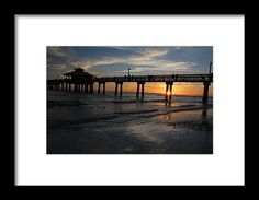fort myers, florida, sunset, silhouette, pier, gulf, nature, landscape, michiale schneider photography, interior design, framed art, wall art