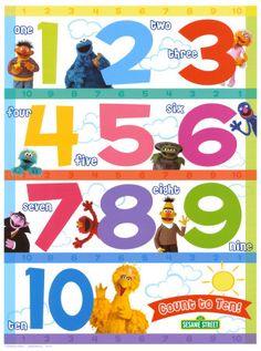 Cute numbers to use Future Classroom, Classroom Themes, Sesame Street Invitations, Preschool Kindergarten, Learning Centers, Kids Education, Pre School, Childcare, Teaching