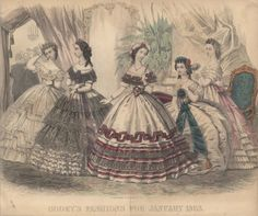 Civil War Era Clothing: Civil War Era Fashion Plate - January 1863 Godey's Lady's Book