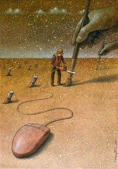 Pawel Kuczynski, a Polish artist has worked in satirical illustration specialising in thought-provoking images that make his audience question their everyday lives.more illustrations in the link. Caricature, Satirical Illustrations, Satirical Cartoons, Cartoon Illustrations, Political Art, Wow Art, Surreal Art, Psychedelic Art, Canvas Artwork