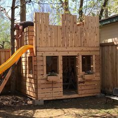 Fun Fortress Playhouse Plan - christiane kruse - Fun Fortress Playhouse Plan Wooden castle play-set with flower boxes and slide - Castle Playhouse, Kids Playhouse Plans, Outside Playhouse, Pallet Playhouse, Build A Playhouse, Wooden Playhouse, Childrens Playhouse, Pallet Fort, Pallet Patio