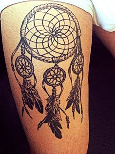 Dreamcatcher - thigh tattoo - native, pride, dreams, nightmares, ancestors, feathers, beads.