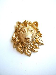 Faux Taxidemy Small Lion Head Wall Mount Leonard the Lion in shiny gold