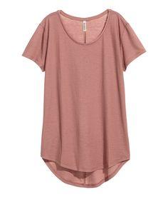Camiseta en punto con crepé | Terracota claro | MUJER | H&M MX