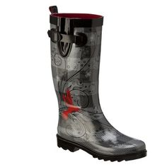 Womens Hummingbird Rain Boots - BlackGrey