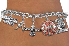 Basketball Five Charm Bracelet - Silver Chain Bracelet w Austrian Crystal Silver Charms