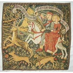 Medieval hunt scene tapestry. A bargain at $30!