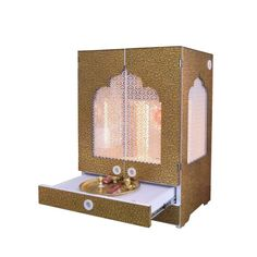 Designer Wooden Mandir with Doors / Pooja Mandir with Shutters and Jali Pooja Room Design, Temple Design For Home, Wooden Temple For Home, Room Door Design, Acrylic Wall Decor, Temple Decor, Pooja Door Design, Pooja Room Door Design, Furniture Design Table