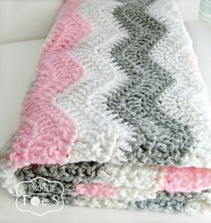 Crochet Baby Blanket Crochet Blanket Pink and Gray by puddintoes