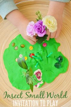 A small world to explore as part of an insect and bugs preschool theme. An engaging invitation to play. Insect Activities, Spring Activities, Fun Activities For Kids, Sensory Activities, Crafts For Kids, Group Activities, Sensory Play, Easter Crafts, Activities For Autistic Children
