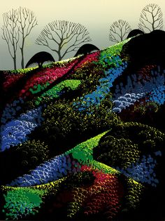 Eyvind Earle - Artist Eyvind Earle, born in New York City in Eyvind Earle enjoyed a prolific career spanning 60 years. In 1951 Eyvind Earle joined Walt Disney Studios and was responsible for the styling, background and color for Sleeping Beauty. Eyvind Earle, Illustration, Amazing Art, Naive Art, Painting, Abstract Artwork, Magic Realism, Artwork Painting, Landscape Art