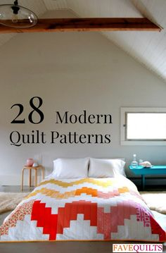 28 Modern Quilt Patterns and Modern Quilt Ideas - Free quilt patterns to download and make stunning and trendy home decor DIY projects for the bedroom and more!