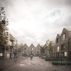 Image 1 of 2 from gallery of Hawkins\Brown Designs Housing Scheme in Rotherhithe. Photograph by Forbes Massie Brick Architecture, Architecture Visualization, 3d Visualization, Architecture Drawings, Residential Architecture, Architecture Details, Landscape Architecture, Rendering Architecture, Cgi