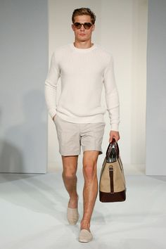 White Sweater, Khaki Shorts, Espadrilles, and Brown Tan Carryall. Men's Spring Summer Fashion.