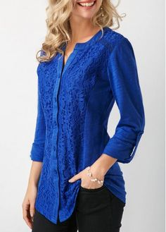 Button Up Roll Tab Sleeve Royal Blue Blouse Trendy Tops For Women, Blouses For Women, Blue Shirt Outfits, Dress Outfits, Royal Blue Blouse, Royal Blue Shirts, Blouse Styles, Elegant Woman, Lace Tops