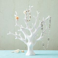 Two's Company Our Coral Tree Resin Jewelry Holder is a perfect holder for all of your treasures. Hang up your jewelry and add a feeling of the sea to your room. The Coral Tree is great on its own as a decorative accent as well. Tree Jewelry Holder, Jewelry Tree Stand, Necklace Holder, Jewellery Holder, Jewelry Box, Pearl Necklace, Arrow Jewelry, Ring Holders, Kids Necklace