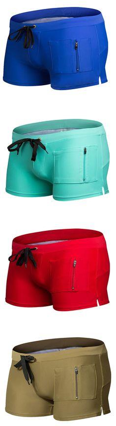 AUSTINBEM Fashion Beach Swimming Hot Spring Boxers Front Zipper Pocket Beach Shorts for Men