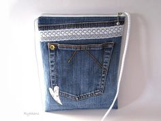Purse  Jeans  handbag lace heart youth adult pink blue