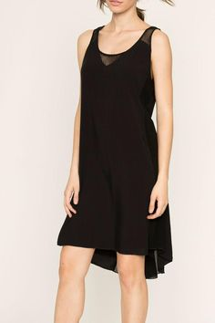 Black dress with a high-low hem and a back zipper closure.    High Low Dress by Miilla. Clothing - Dresses - Casual Dallas, Texas