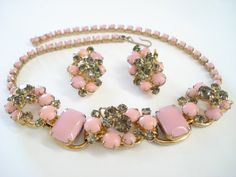 Vintage Juliana Pink Necklace and Clipon Earrings by Objeks, $265.00