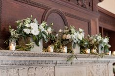 Winter floral arrangements decorate the mantle at Willowdale Estate north of Boston MA (800x533)