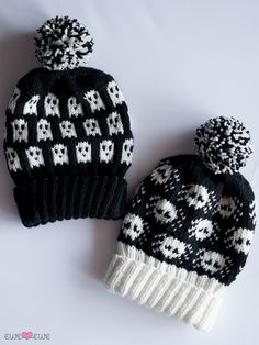 Halloween Hat Knitting Project! Howling ghosts and spooky spiders from Ewe Ewe - Ghosts & Widows Hats Knitting Pattern