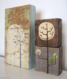 weathered wood block art