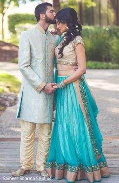 Romantic shot of indian bride and groom. http://www.maharaniweddings.com/gallery/photo/83851