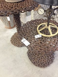 chain link tables high and low Straw Bag, Rust, Tables, Basket, Chain, Link, Mesas, Chains, Hamper