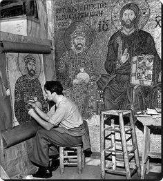 Life: uncovering the mosaics of Hagia Sophia in Constantinople Byzantine Art, Byzantine Mosaics, Great Works Of Art, Hagia Sophia, Pub Crawl, History Photos, Orthodox Icons, Life Pictures, Egyptian Art