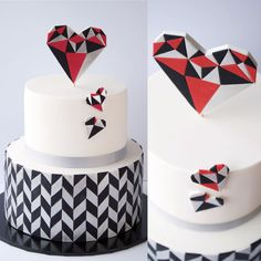 Geometric Heart Cake for Valentine's Day on Cake Central