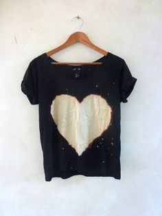 Bleached Heart Tee - Will go cute with jeans or jean shorts.