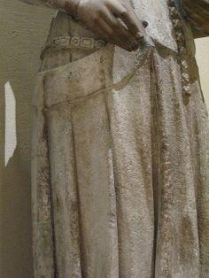 Charles V and Jeanne de Bourbon, Ile-de-France, 1365-1380. Detail of Jeanne's gown, surcoat and belt.