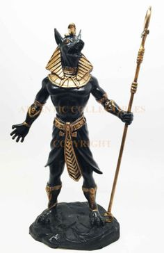 Egyptian-Jackal-God-Anubis-Dark-Lord-Black-and-Gold-Statue-Figurine-Collectible